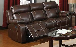 Brown bonded baseball stitch leather reclining motion sofa Baseball sofa