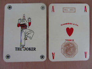 1958 Italian Single Playing Card Joker Cambissa Trieste Black Jolly