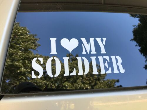 I Love//Heart My Soldier Vinyl Sticker Decal White Heart Marines Navy Army