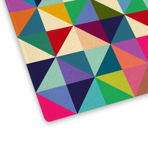 Colourful Geometric Pattern Glass Chopping Board Kitchen Worktop Saver Protector