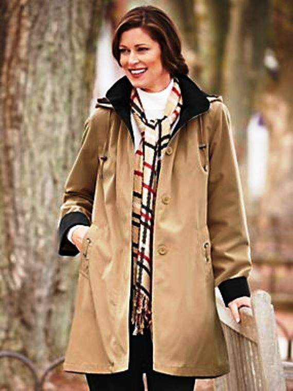 """Tally Ho Outerwear"" Petite XXL Short Trench Coat w Button-out Removable Liner"