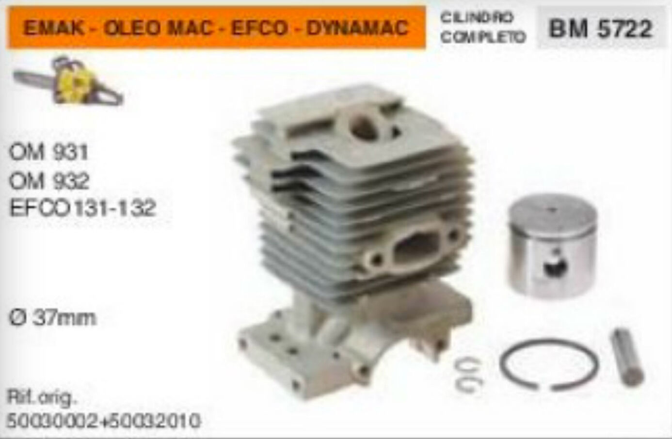 Cylindre Piston Scie à Chaîne Emak Oleo Mac 931 932 Efco 131 132 Dynamac Ø 37 Mm