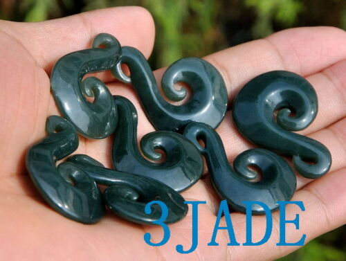 Nephrite Jade Hei Matau Necklace NZ Maori Design Fish Hook Pendant