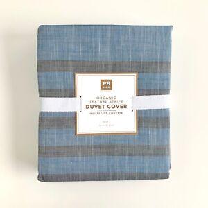 Pottery Barn Teen Twin Burton Halfpipe Stripe Duvet Cover only blue grey