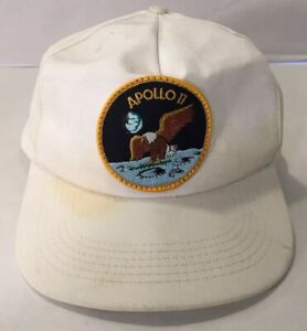 Vintage-APOLLO-11-Patch-Hat-Cap-White-Snapback-Moon-Landing-Nasa-MADE-IN-USA