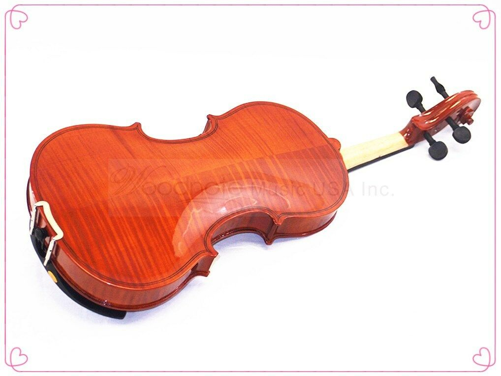 School Beginner 1 2 Flamed Style Violin-Bow-Rosin-Case & Free Soprano Recorder