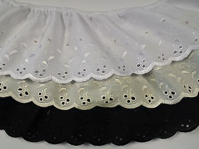"110mm 4.5"" Width Broderie Anglaise Gathered Frilled Lace 3 Shades Per metre"