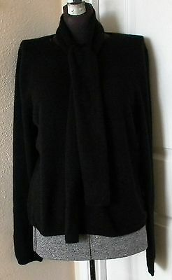 Black Cashmere Sweater Pullover with Scarf Annie's Eye L New