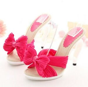 10e79aacb521 Sweet Girl Chiffon Bows Love Heart High-Heeled Sandals Slippers Heel ...