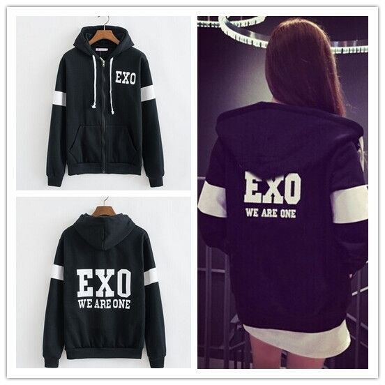Korea Hot Team KPOP EXO CHAN YEOL D.O We are one Black Zip Hoodies Jacket Coat