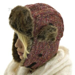 MUDD-Women-039-s-PINK-TWEED-TRAPPER-HAT-with-GOLD-FLAKE-amp-FAUX-FUR-TRIM-Winter-CAP