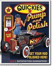 Hot Rod Garage QUICKIES PUMP POLISH Large Vintage Retro Metal Tin Wall Sign 1746