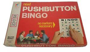 Vintage-1973-Milton-Bradley-Push-Button-BINGO-24-Cards-Complete-Rare-Find