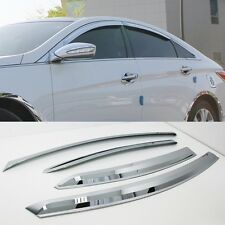 Chrome Window Visor Sun Guard Wind Rain Shield For Hyundai YF Sonata 2011~2013