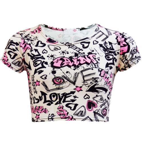 Bambine Graffiti Scarabocchio Rosa Fumetto Top Corto T Shirt 7 8 9 10 11 12 13