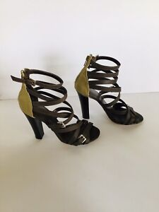 Details about Betts Size 7 High Heel Brown Leather Sandals Strappy Brand New