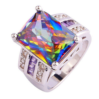 Noble Unisex Rainbow & White Topaz Gemstones Silver Women's Ring Size 6 7 8 9 10