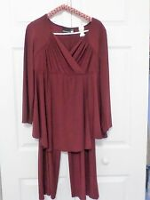 ANTHONY DESIGNS (HSN) 2-PIECE PANT SUIT W20,PETITE, 3/4 SLEEVE, WINE (Reduced)