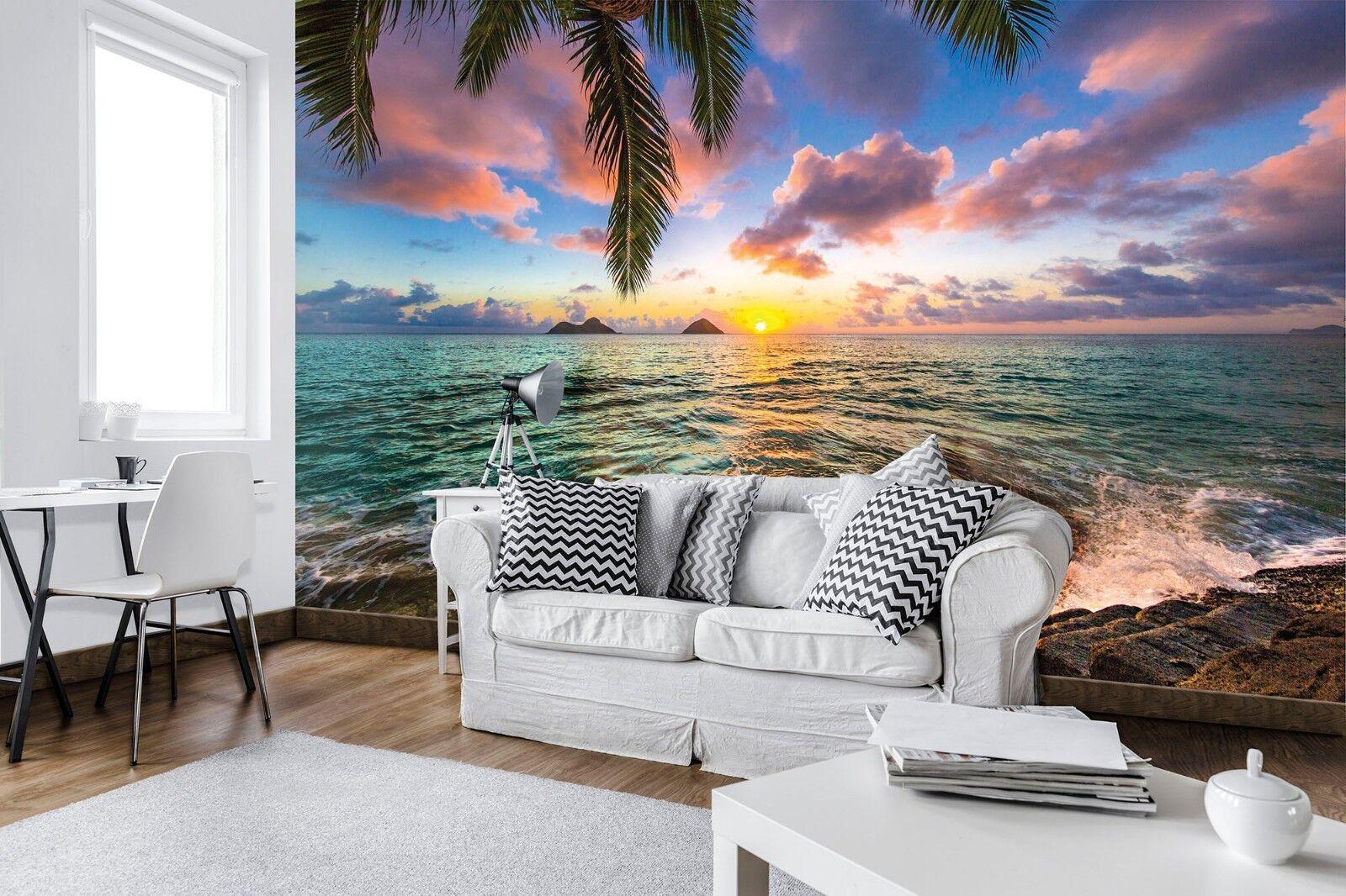 Fototapete Wandtapete Vlies Kinder Schlafzimmer Blauer Ozean und Palmen Tropics
