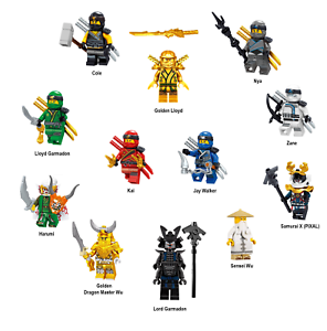 LEGO-NINJAGO-SET-ZANE-COLE-NYA-KAI-JAY-GOLDEN-LLOYD-WU-GARMADON-HARUMI-SAMURAI-X
