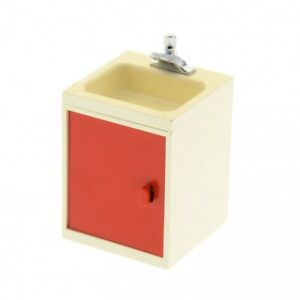 1x-Lego-Armoire-Creme-Blanc-4x4x4-Porte-Rouge-Lavabo-838-839-840-840c01