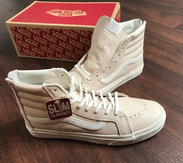 19dd6ac794fdfa Buy VANS Sk8 Hi Slim Zip Leather Whispering Pink Blanc Shoes Mens ...