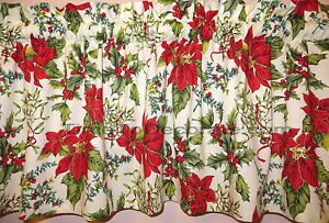 NEW VALANCE Christmas RED gold POINSETTIA floral green HOLLY leaves berries