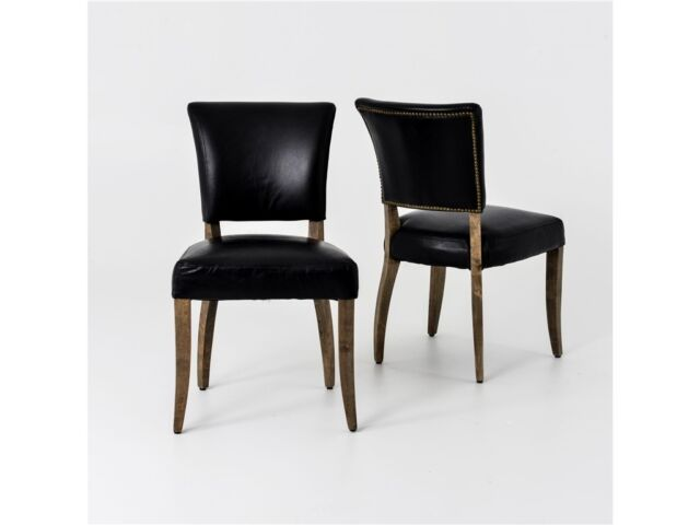"Set of TWO 35"" H Momo Dining Chair vintage black smooth soft backres oak legs GM"