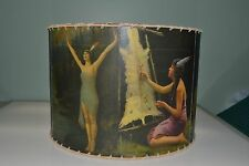 """Indian Maiden lamp shade 14"""" x 14"""" Drum, Rustic Cabin Decor"""