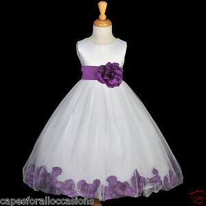 Ivory flower girl dress petals purple fuchsia black blue pink red image is loading ivory flower girl dress petals purple fuchsia black mightylinksfo