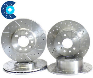FORD-FOCUS-RS-MK1-Drilled-Grooved-BRAKE-DISCS-FRONT-REAR