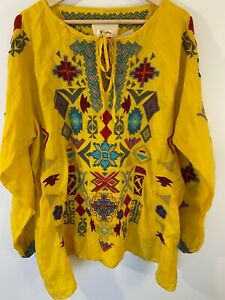Johnny-Was-NWT-Yellow-Embroidered-Ziggy-Blouse