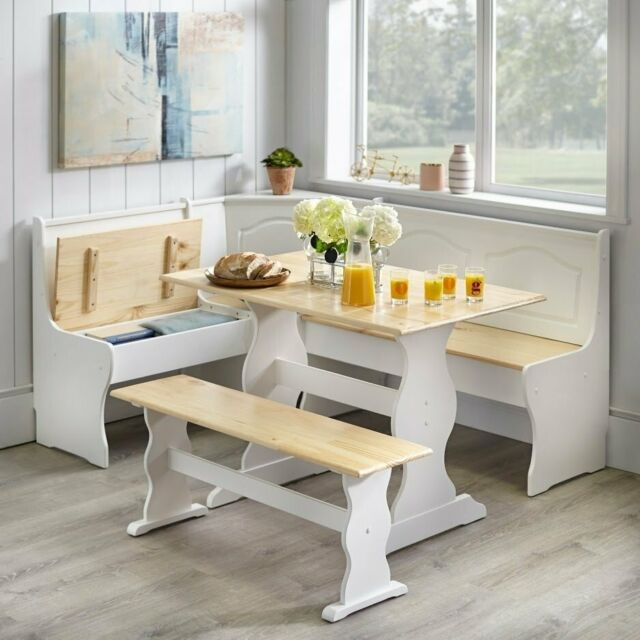 3 Pc White Wooden Top Breakfast Nook Dining Set Corner Booth Bench Kitchen Table For Sale Online
