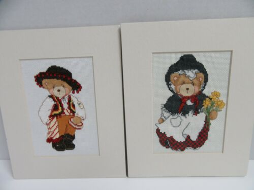 2 Finished Cross Stitch Teddies Around World Completed Spain Spanish 8x10