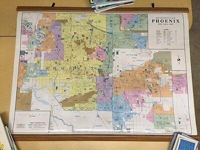 Map Of Arizona Detailed.1998 Wide World Maps Phoenix Az Detailed Arterial Mini Wall Map Laminated Rails Ebay