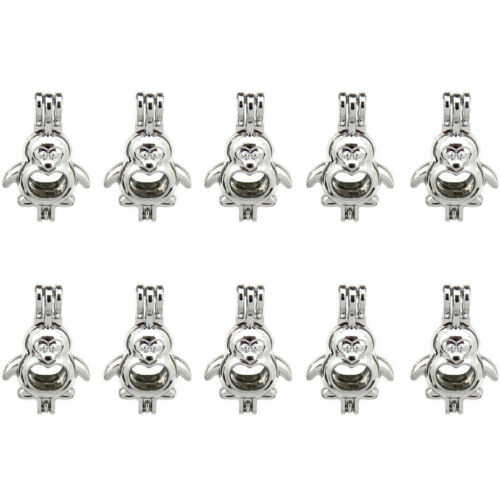 K599 10X//lot Silver Alloy 27mm Cartoon Penguin Pearl Beads Cage Wholesale
