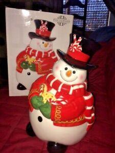 New-2008-Fitz-amp-Floyd-Large-Christmas-Snowman-Cookie-Jar-Box-Sugar-Coated