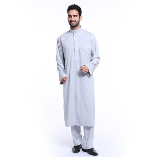 Men Arab Kaftan Saudi Style Thobe Thoub Abaya Robe Daffah Dishdasha Islamic