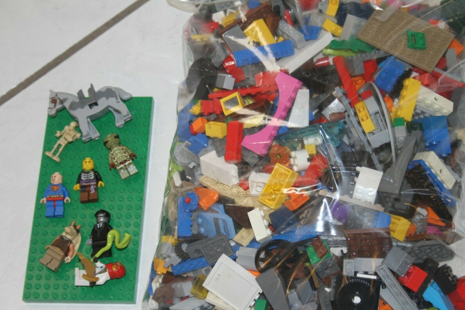 5 1 4 lbs Pounds Lego Parts Pieces from HUGE BULK LOT 8 Minifigures Included