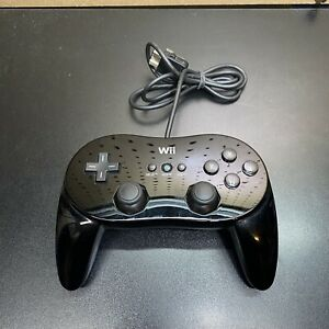 Nintendo-Wii-Black-Wired-Classic-Pro-Controller-Genuine-OEM-RVL-005-Tested