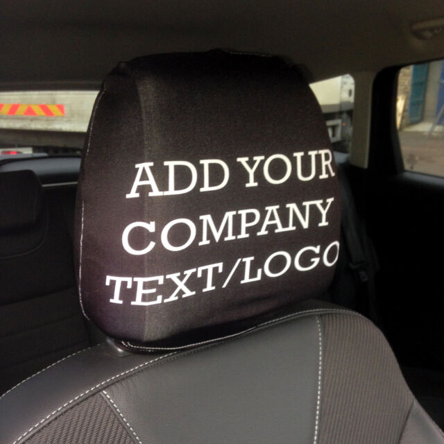 Personalised Car Seat Head Rest Covers Taxi Name Logo Business Advertisement