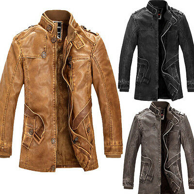 Vintage Mens PU Leather Motorcycle Jacket Winter Parka Long Trench Coat Overcoat