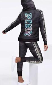964133dbd56e3 Details about Victoria's Secret PINK Sequin Bling Full Zip Hoodie & Jogger  Set Black Camo XS S