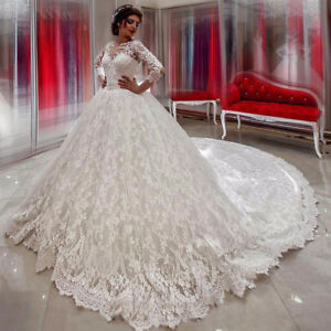 Cathedral-Train-Lace-Appliques-Wedding-Dress-White-Ivory-Long-Sleeve-Bridal-Gown