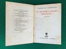 Georges SIMENON - IL SIGNOR GALLET DEFUNTO , 1° Ed Mondadori Libri Neri 6 (1933)