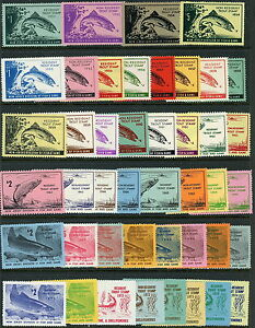 1953-1974-New-Jersey-Fish-amp-Game-Trout-Stamps-Mint-Original-Gum-Set-of-44