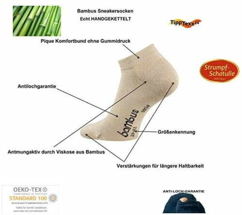 6-18 Paar Bambussocken Sneakersocken für Damen handgekettelt Antiloch-Garantie