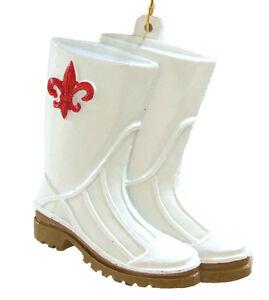 bebda27e157 Details about WHITE Shrimp BOOTS Mardi Gras Bead Necklace Red Fleur de Lis  Red New Orleans