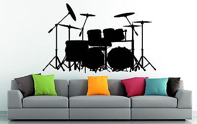 Drum Kit Set Acoustic Music Decor Vinyl Wall Sticker Bedroom Silhouette |  eBay