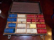 Vintage Poker case with around 300 Chips - some Fleur de lis